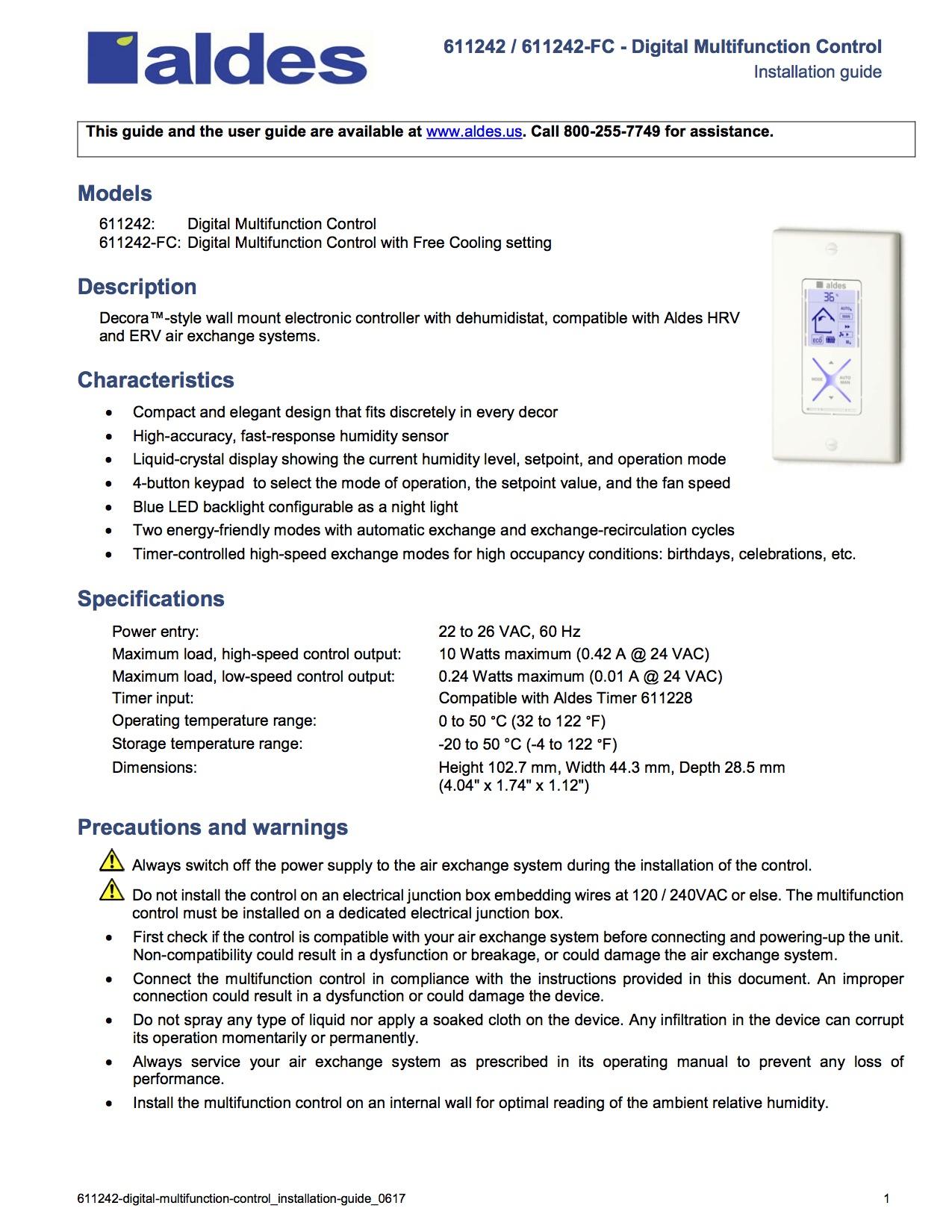 Models Description Characteristics Specifications Precautions And