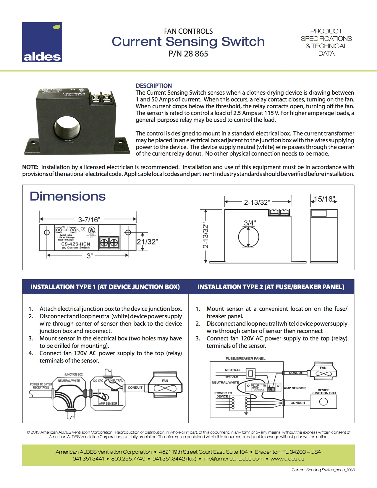 Current Sensing Switch American Aldes Ventilation Corporation With Diagram 2 Wiring Box In Powers Buy Now