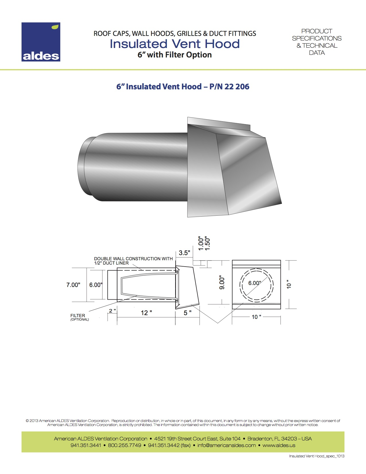 Insulated Vent Hood American Aldes Ventilation Corporation
